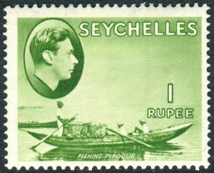 SEYCHELLES-1938 1r Yellow-Green.  A mounted mint example Sg 146