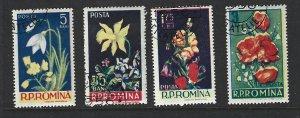 Romania Scott  1112-1115 Used Set Flower stamps 2017 CV $2.35