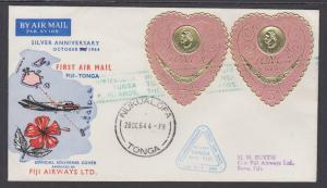 Tonga Sc 136 (2) on 1964 First Flight Silver Anniversary Cover, Fiji to Tonga