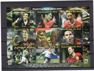 Mali 2010 World Cup Football South Africa 2010 Sheetlet (9) Perforated MNH VF