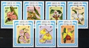 Laos 1985, Flowers, Orchids, Full set 7v MNH