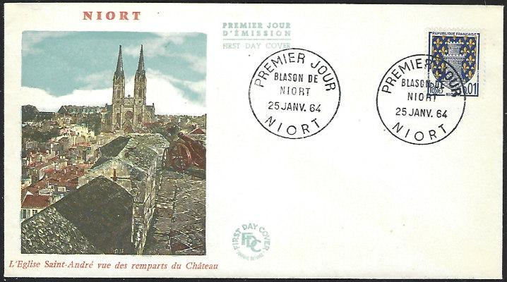 France Jan. 25, 1964 Niort First Day Cover Unaddressed
