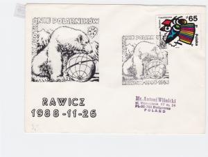 Poland 1988 Arctic Antarctic Polar Expedition Polar Bear  Stamps Cover ref 23200