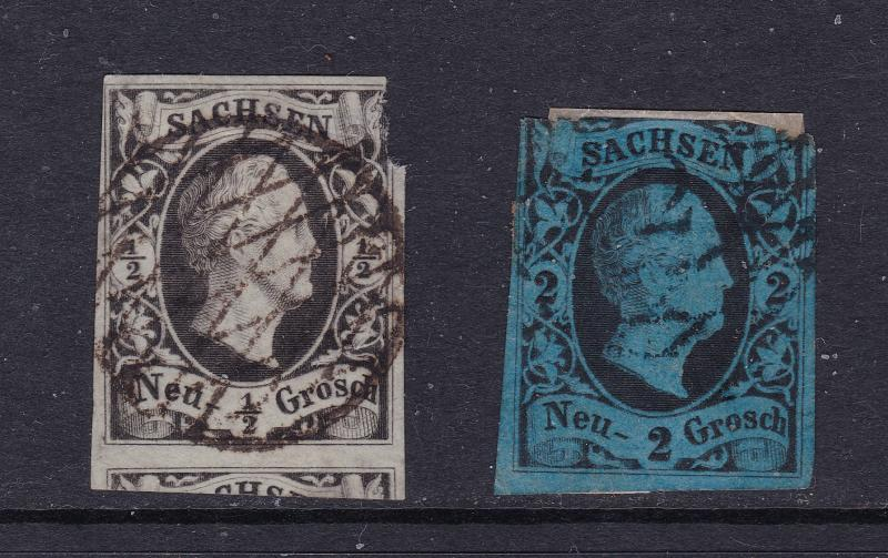 Saxony (Germany) x 2 early imperfs used