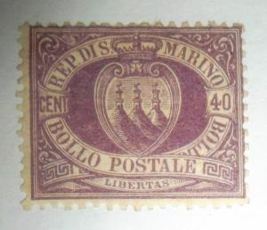 SAN MARINO  1877-99 40c VIOLET ARMS MLH Scott #17 Huge CV Free US Shipping