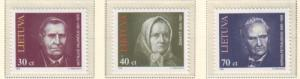 Lithuania Sc 514-16 1995 Famous Lithuanians stamp set mint NH