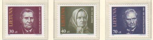 Lithuania Sc 514-16 1995 Famous Lithuanians stamp set mint NH