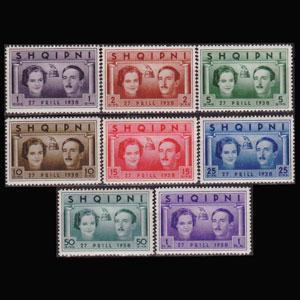 ALBANIA 1938 - Scott# 281-8 King Wedding Set of 8 NH