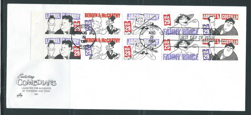 USA Scott 2566b Comedians Booklet Pane Unaddressed Artcra...