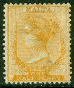 EDW1949SELL : MALTA 1874 Sc #4 Mint NG Nice stamp w/ true golden yellow Cat $325