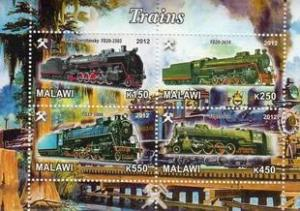 Malawi 2012 M/S Steam Locomotives Trains Rail Transport Railway Stamps MNH (1)
