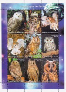 Benin 2002 Owl Birds of Prey 9v Mint Full Sheet. (L-84)