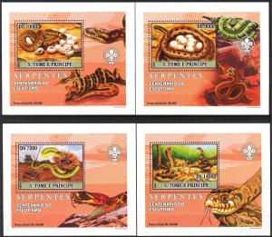 {011} Sao Tome & Principe 2007 Snakes Scouts 4 S/S Deluxe MNH**