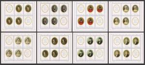 Poland 1748-1755 sheets,MNH.Michel 2017-2024 klb. Miniatures 1970.Portraits.