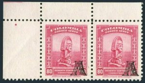 Colombia C211 pair,MNH.Mi 609. Pre-Columbian monument overprinted L,1951.
