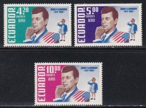 Ecuador # C429-431, John F. Kennedy, NH, 1/2 Cat.