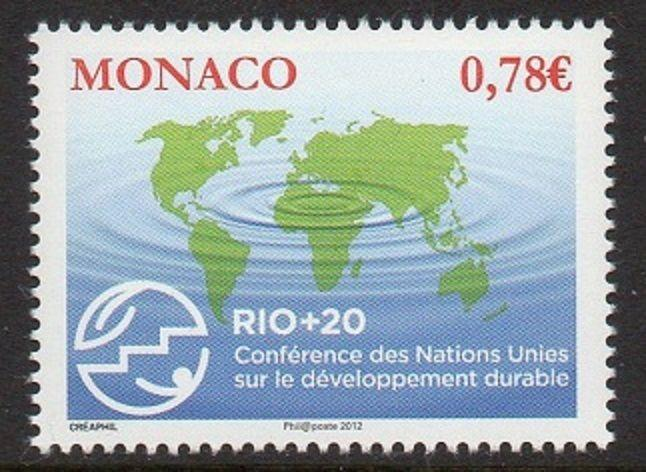 Monaco 2012 Map UN Sustainable Development VF MNH (2679)
