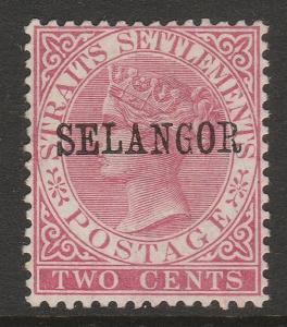 MALAYA 1886 Selangor opt Straits Settlements QV 2c MNG SG#34 T.27 CV£75 M1470