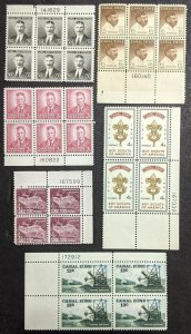 EDW1949SELL : CANAL ZONE 1940-76 Sc #113, 37, 38, 51-2, 163 P/B of 4 MNH Cat $23