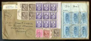 U.S. Scott 823, 815, 814, and 812 (5) Prexies on Air Mail Cover to Germany