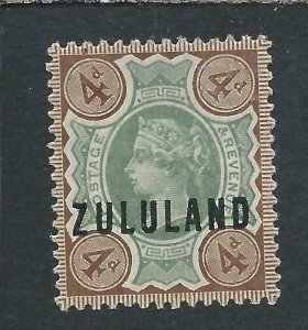 ZULULAND 1888-93 4d GREEN & DEEP BROWN MM SG 6 CAT £60