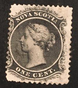 Nova Scotia Scott 8 Queen Victoria One Cent Cent-Used