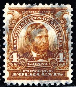 US STAMP #303 – 1903 4c Grant, brown USED XFS SUPERB