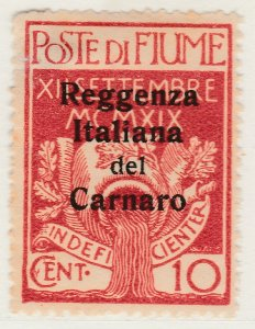 Fiume 1920 Carnaro Overprint 10c Very Fine MH* Stamp A21P11F4972