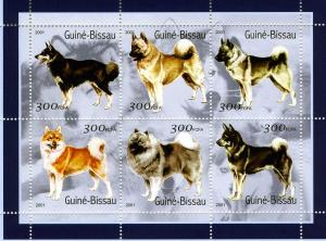 Guinea-Bissau MNH S/S Various Dogs 2001 6 Stamps