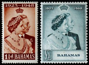 Bahamas Scott 148, 149 (1948) Mint H VF
