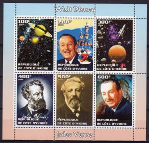 Ivory Coast 2004 Walt Disney and Jules Verne/Mars/Space Sheetlet (6) PERF.MNH