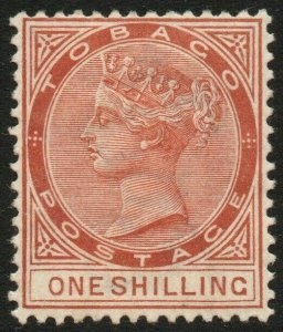 TOBAGO-1896 1/- Orange-Brown Sg 24c MOUNTED MINT V48444