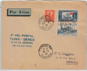 AIRMAIL 1st FLIGHT COVER - TUNISIA: Tunis / Genova - Longhi # 3773 1938