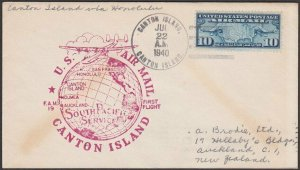 GILBERT & ELLICE IS US PO 1940 first flight cover Canton Is to Honolulu.....Q489
