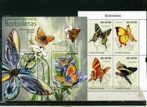 ST.THOMAS & PRINCE ISLANDS 2011 BUTTERFLIES 2 SHEETS OF 2 & 4 STAMPS MNH