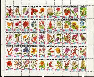 Mexico, 1973-1974 issue. T-B Seals sheet of 50 showing Flowers. Mailed Folded.