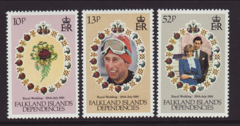 Falkland Islands Dependencies 1L59-1L61 Royal Wedding MNH VF