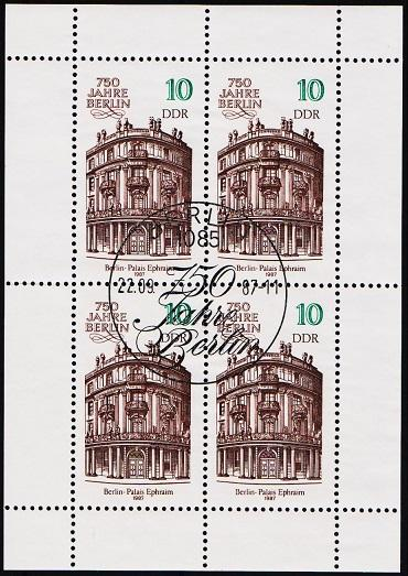 Germany(DDR). 1987 10pf Miniature Sheet. Part S.G.MSE2784 Fine Used