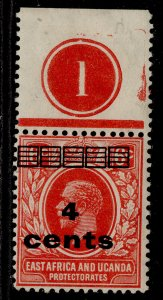 EAST AFRICA and UGANDA GV SG64, 4c on 6c scarlet, M MINT. CONTROL
