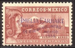 MEXICO# C74 SCARCE Mint - 1935 Amelia Earhart Flight