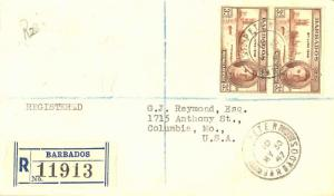 Barbados 3d KGVI Peace (2) 1947 St. Peter, Barbados Registered to Columbia, Mo.