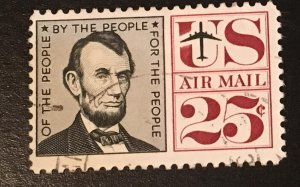 C59 Lincoln 25c, circ. single, tagged, Vic's Stamps Stash