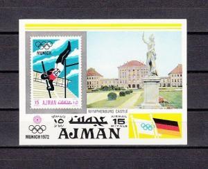 Ajman, Mi cat. 746, BL247. Munich Summer Olympics s/sheet.