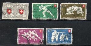 Switzerland Sc B191-95 1950 Sports  Red Cross stamp set used