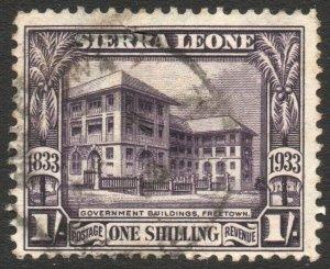 SIERRA LEONE-1933 Wilberforce 1/- Violet Sg 176 GOOD USED V42941