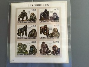 Comoro Islands 2009 Gorillas   mint never hinged stamps sheet R25282