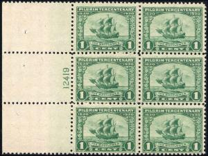 1920 US Stamp #548 A151 1c Mint NH Plate Block of 6 Catalogue Value $95