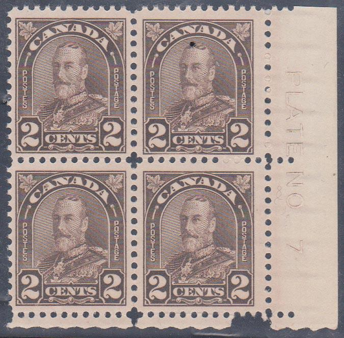 Canada - #166 2c Brown Plate 7 Block of 4 mint