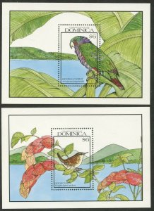 DOMINICA Sc#1249-1250 1990 Birds Two Souvenir Sheets OG Mint NH