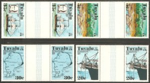 TUVALU Sc# 54 - 57 var MNH FVF Set-4xGutter Pr Coral Reef Ship